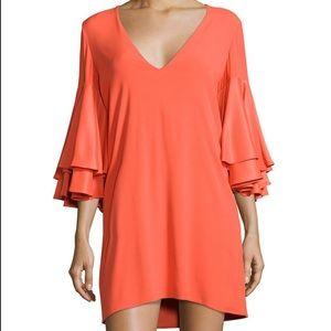 Alexis orange Harper bell sleeve mini dress xs